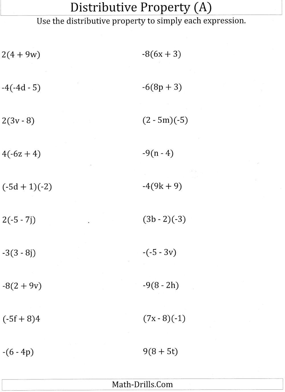 medium resolution of Worksheet #12241584: Math Worksheets Distributive Property on Best  Worksheets Collection 7209