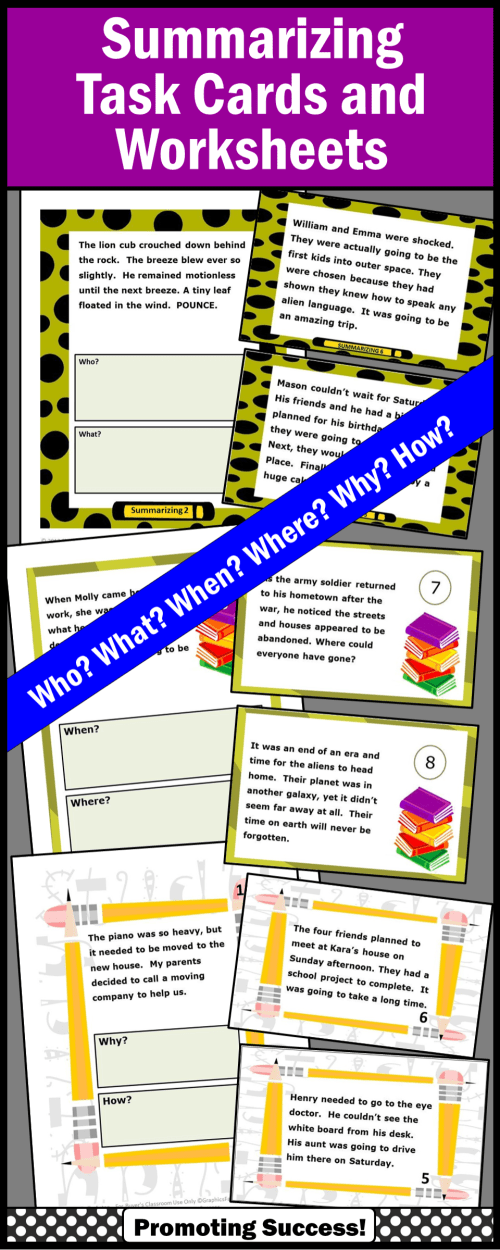 small resolution of Summarizing Activities For 4th Grade Bundle Wh Questions Worksheets on Best  Worksheets Collection 3846