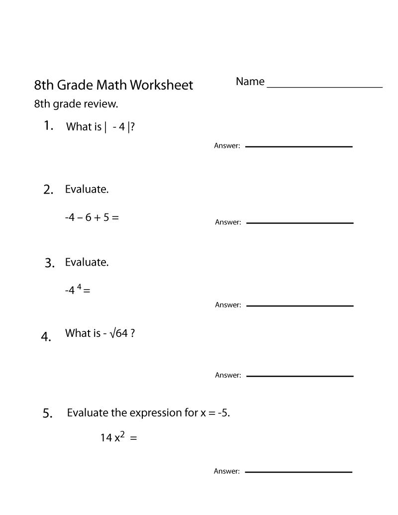 medium resolution of Grade 8 Math Worksheets   8th Grade Math Worksheets