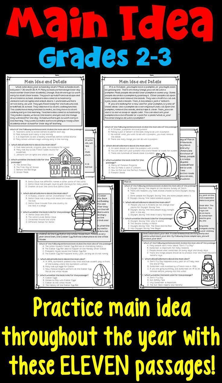 hight resolution of Main Idea And Supporting Details: 11 Monthly Worksheets!   3rd Grade on  Best Worksheets Collection 8575