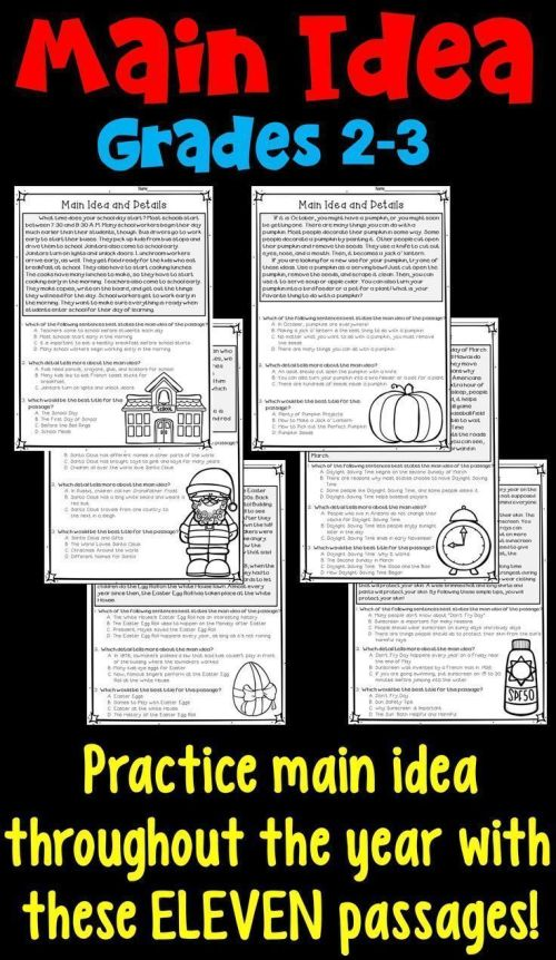 small resolution of Main Idea And Supporting Details: 11 Monthly Worksheets!   3rd Grade on  Best Worksheets Collection 8575