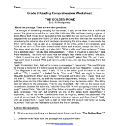 20 Best 6th Grade Reading Comprehension Printable Worksheets With Questions  images on Best Worksheets Collection [ 2200 x 1700 Pixel ]