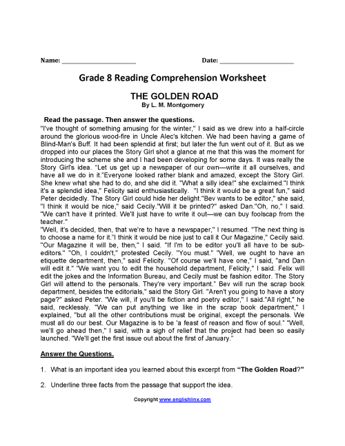small resolution of 20 Best 6th Grade Reading Comprehension Printable Worksheets With Questions  images on Best Worksheets Collection