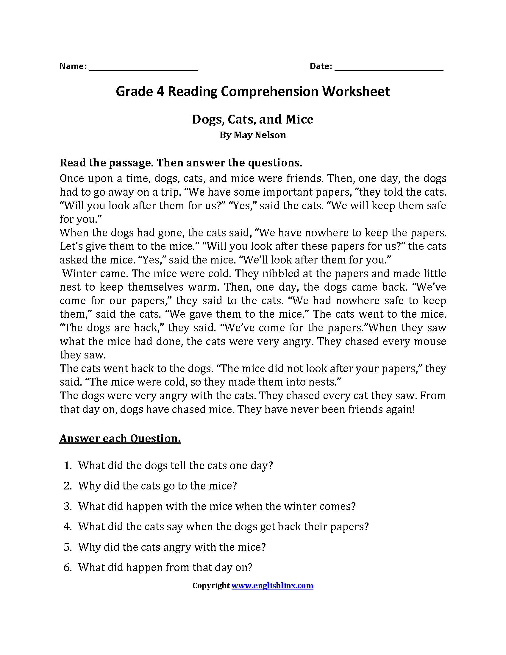 18 Best Ful Page With Questions 6th Grade Reading