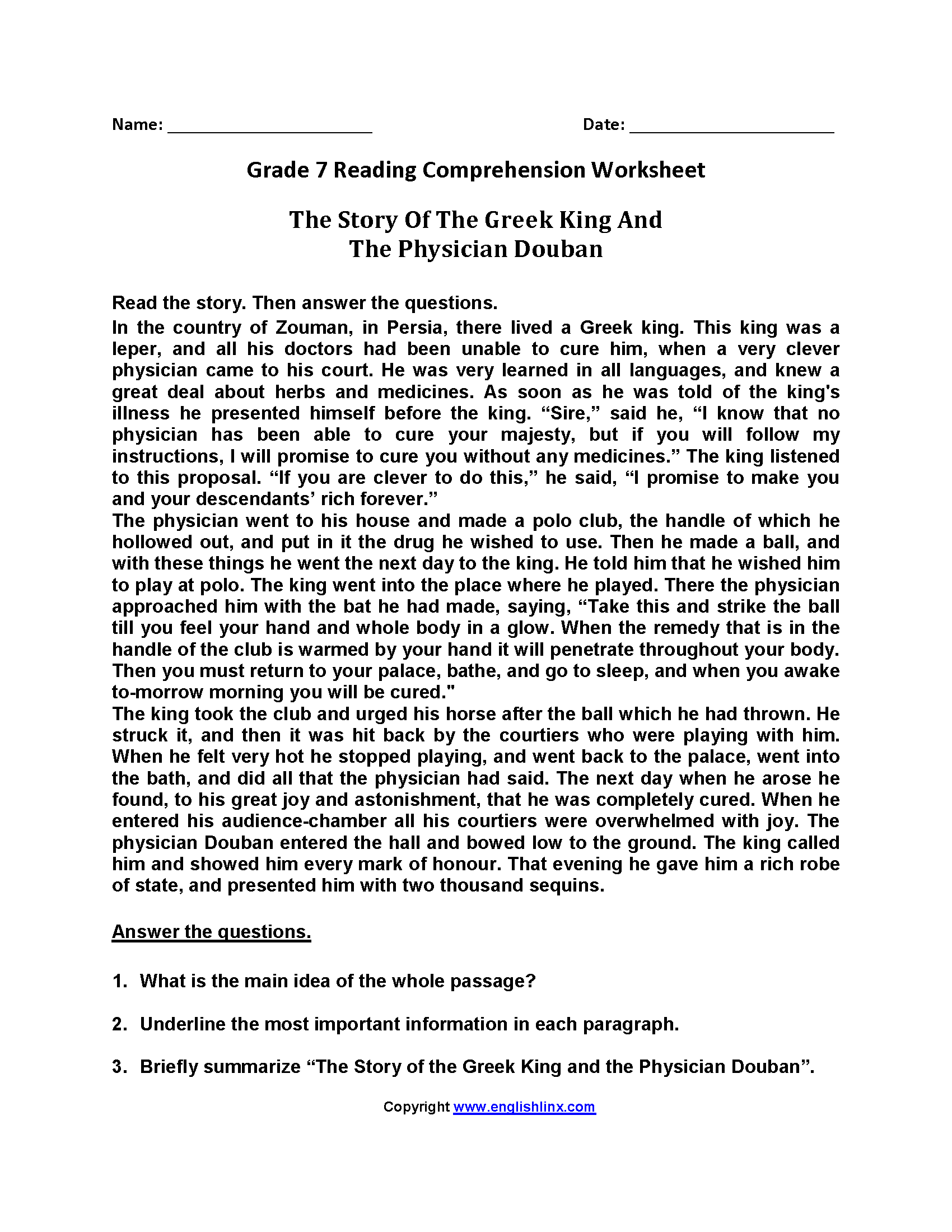 hight resolution of 20 Best Reading Comprehension Worksheets Printable 7th Grade images on Best  Worksheets Collection
