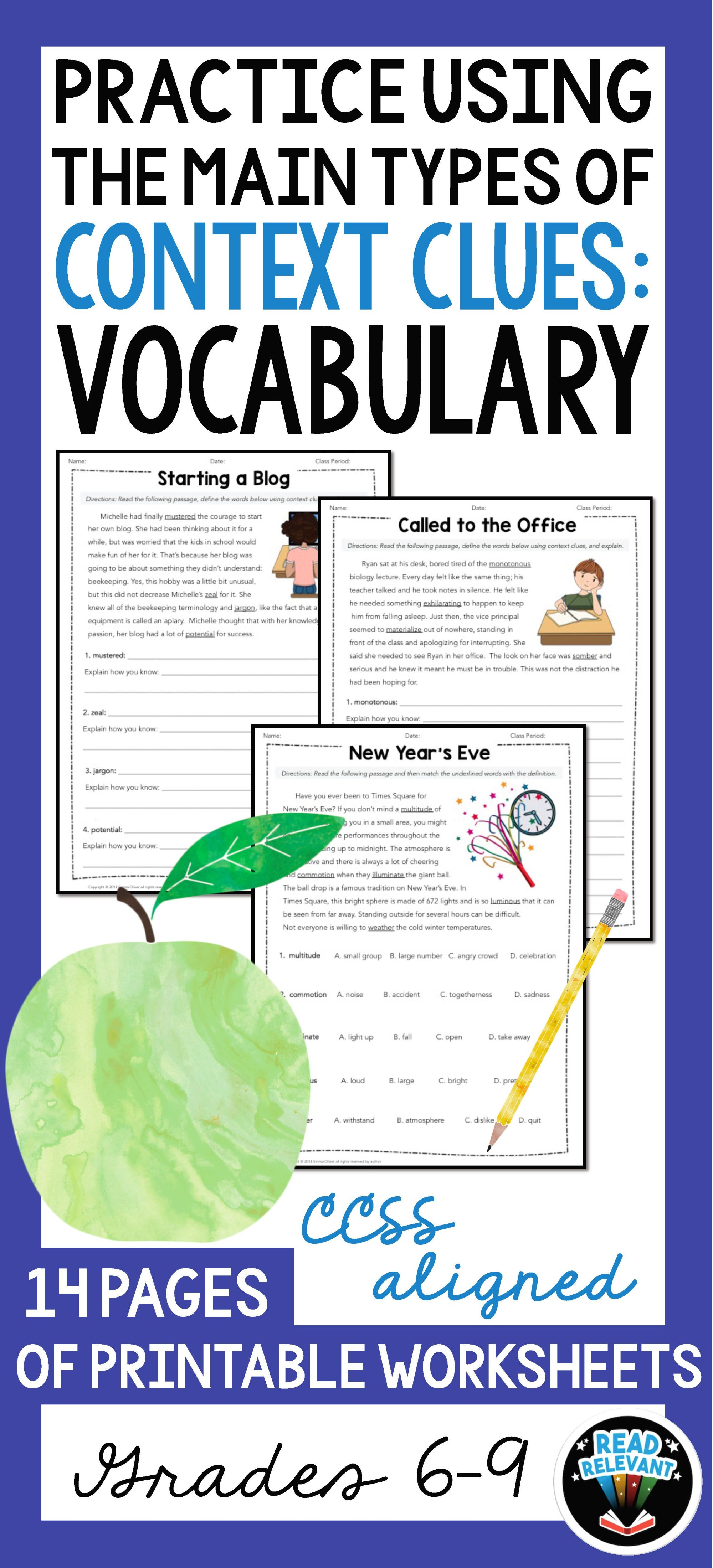 hight resolution of Vocabulary: Practice Using Context Clues Worksheets   Middle on Best  Worksheets Collection 211
