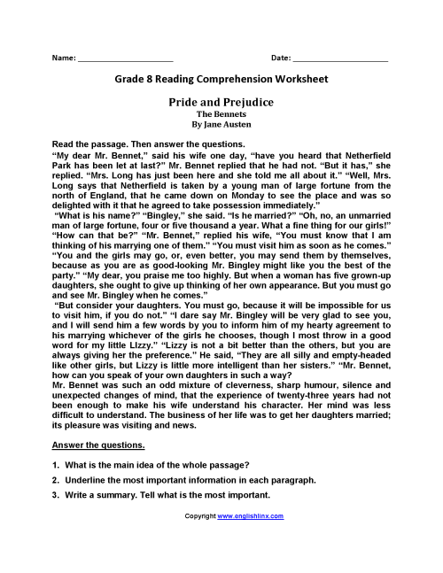 small resolution of 6th Grade Reading Comprehension Worksheets   Printable Worksheets and  Activities for Teachers