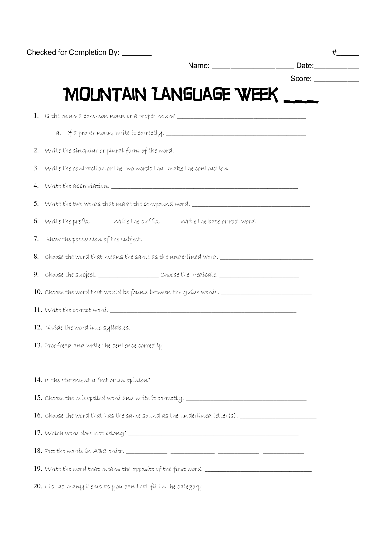 hight resolution of 16 Best 5th Grade Language Worksheets Printable images on Best Worksheets  Collection