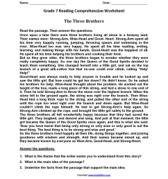 Three Brothers\u003cbr\u003eseventh Grade Reading Worksheets   Reading on Best  Worksheets Collection 4079 [ 2200 x 1700 Pixel ]