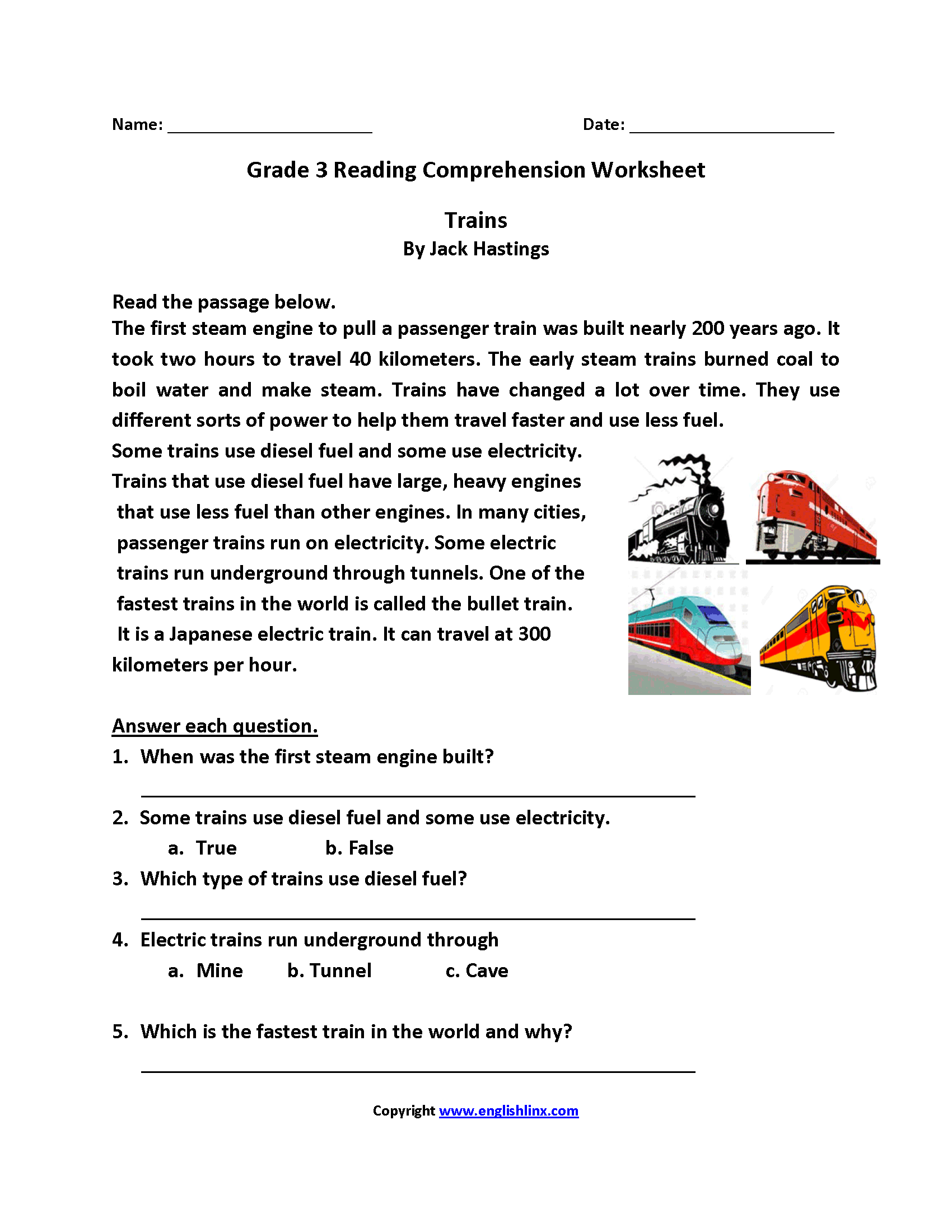 Trains Third Grade Reading Worksheets
