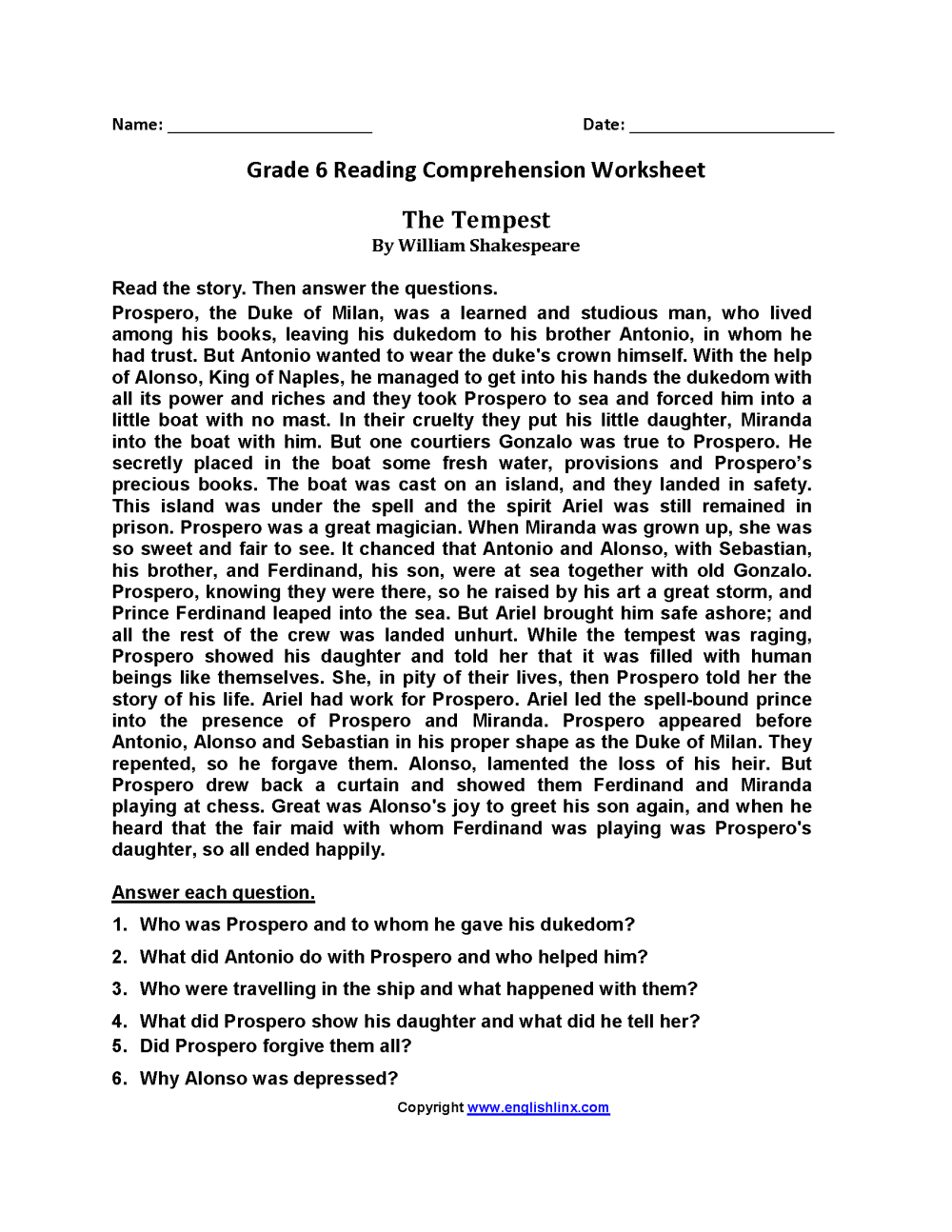 medium resolution of Reading Worksheets   Sixth Grade Reading Worksheets   Sixth on Best  Worksheets Collection 1715