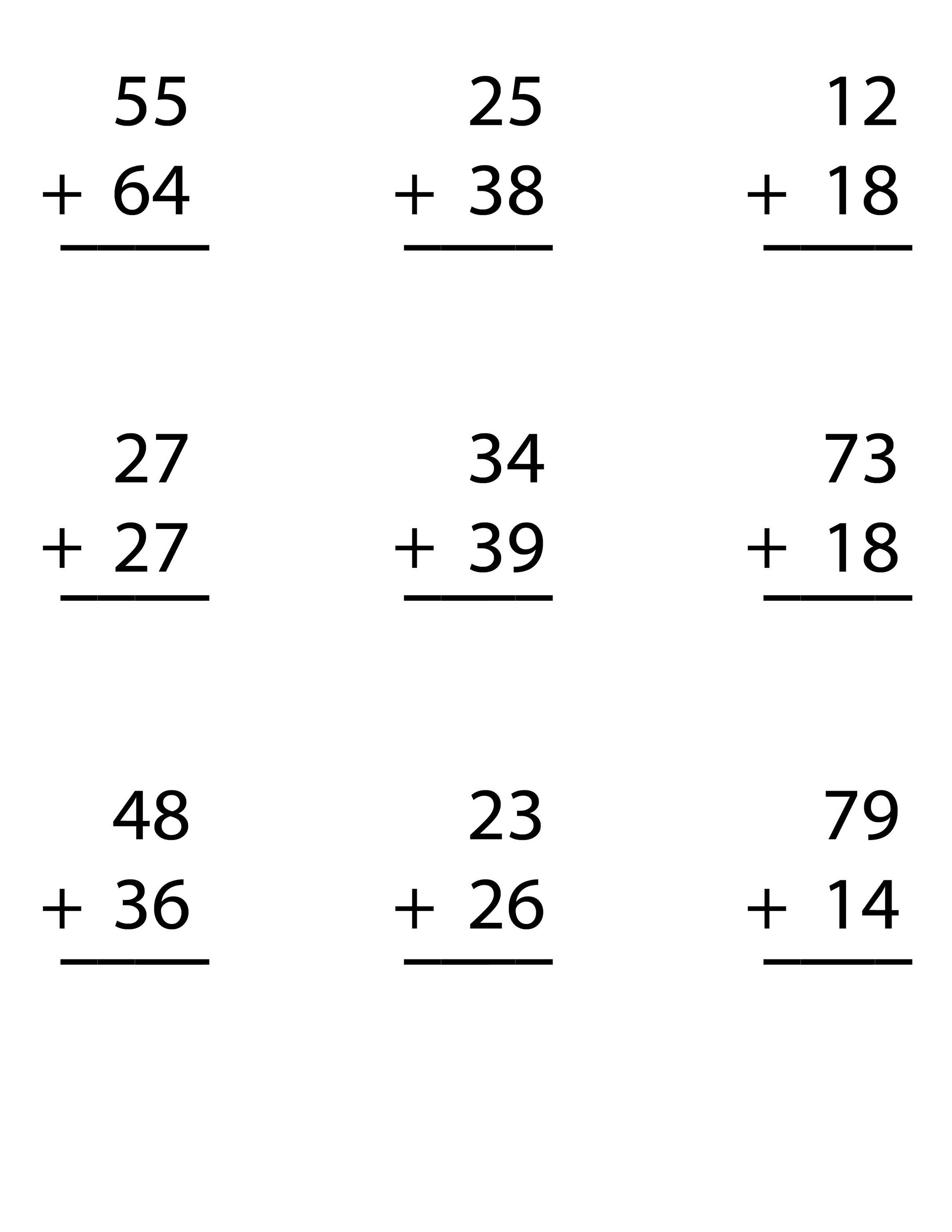 2 Digit Math Worksheets
