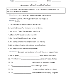 Apostrophes To Show Ownership Worksheet   Grammar Worksheets on Best  Worksheets Collection 9093 [ 1188 x 910 Pixel ]