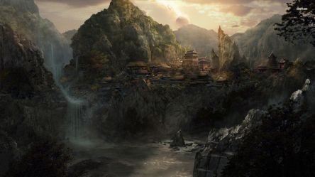 fantasy village mountains mountain asian desktop river villages rpg wallpapers hd places campaign bible valley background waterfall oriental landscape creating