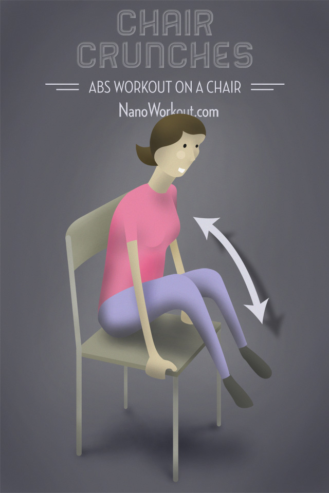 office chair workouts for abs u shaped legs crunches workout on a illustrated woman doing