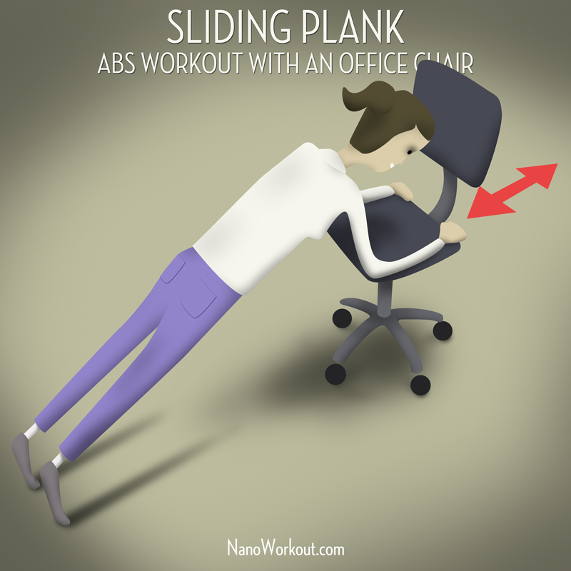 office chair workouts for abs english roll arm and a half sliding plank workout with an