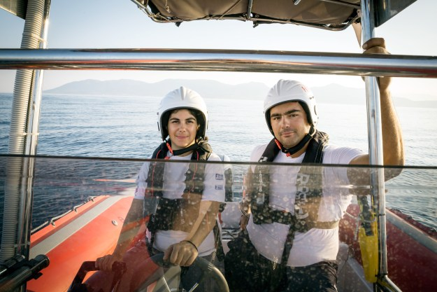 Germany, Mytilini, Lesbos, August 11, 2016, Efi Latsoudi, the human rights activist behind PIKPA camp on the Greek island of Lesvos, and Konstantinos Mitragas on behalf of the Hellenic Rescue Team are joint winners of UNHCR's Nansen Award 2016. The award recognizes their tireless efforts to aid refugee arrivals in Greece during 2015. Here: Antigoni (left) and Panagiotis (right), members of a Hellenic Rescue Team. ; Greece has been at the center of Europe's escalating refugee crisis since 2012. On the island of Lesvos alone, record numbers of refugees and migrants arrived last year, with numbers topping 500,000. In October, arrivals peaked at more than 10,000 per day, as conflicts in Syria, Afghanistan and Iraq continued to uproot people from their homes. Other Greek islands, including Samos and Kos, also became safe havens, with thousands taking to dinghies and boats to cross the Aegean Sea from Turkey. Freezing waters, fake lifejackets and surging storms all became risks worth taking – the last in a long line of hurdles.