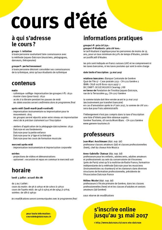flyer cours d'été Genève 3 au 7 juillet 2017