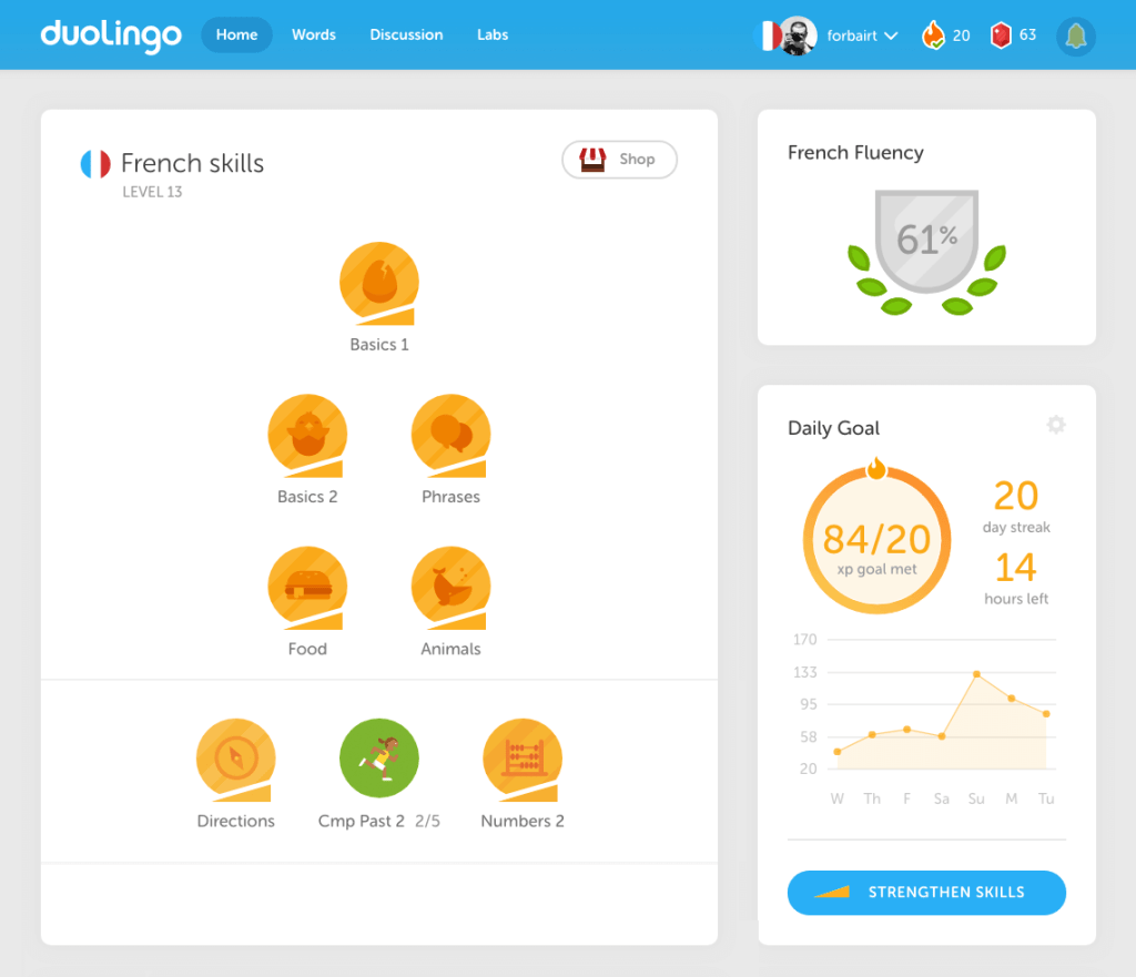 Duolingo Home Screen