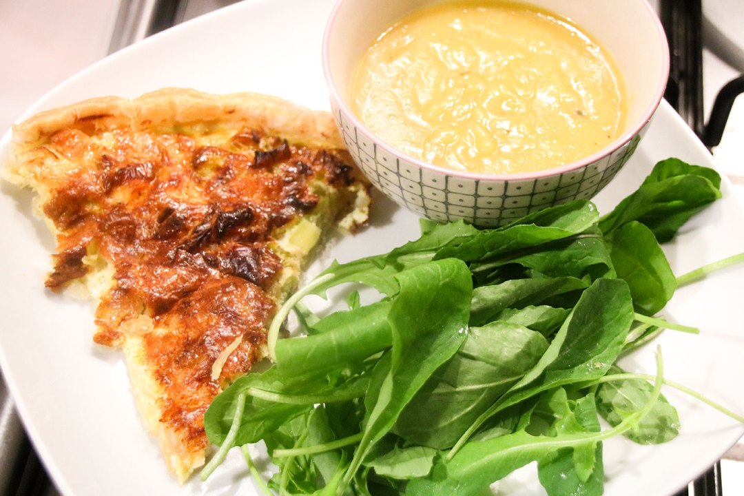 Salmon And Leek Quiche Served