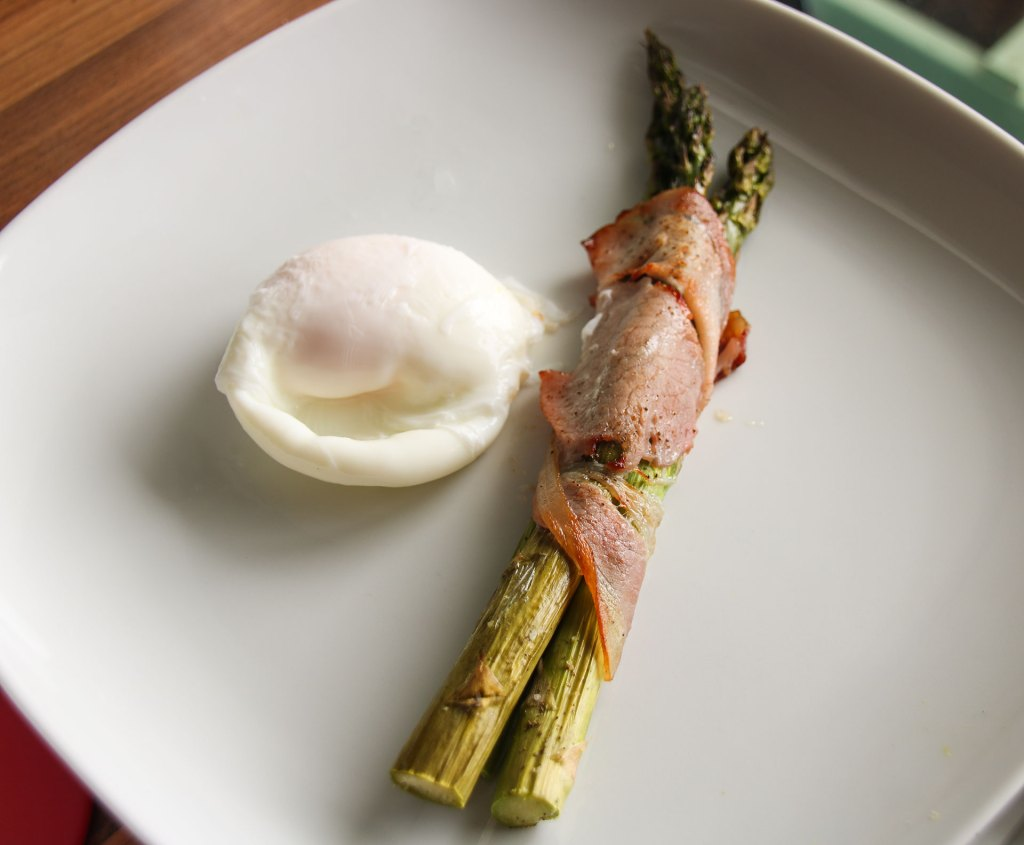 Poached Egg And Bacon Wrapped Asparagus