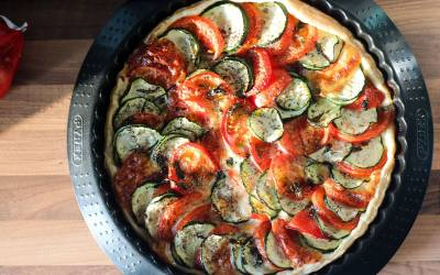 Courgette, Tomato, and Mozerella Tart