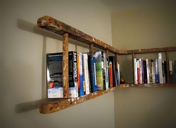 Old ladder turned to bookshelf