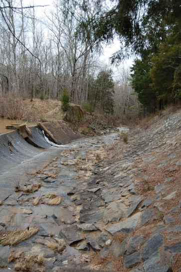 There was still ice built up on the dam