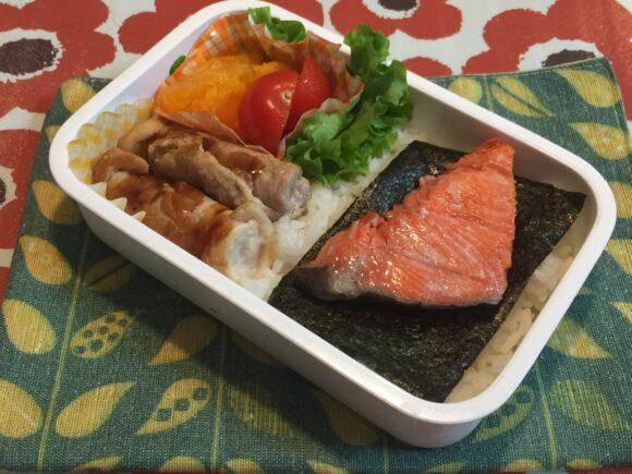 鮭弁当 豚肉の梅チーズ巻き焼き