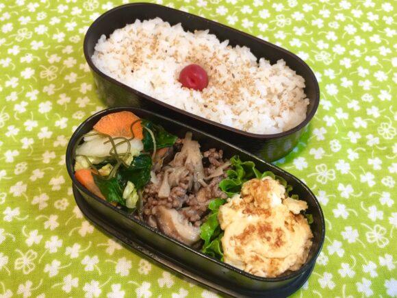 ひき肉と佃煮のお弁当 木目調のお弁当箱