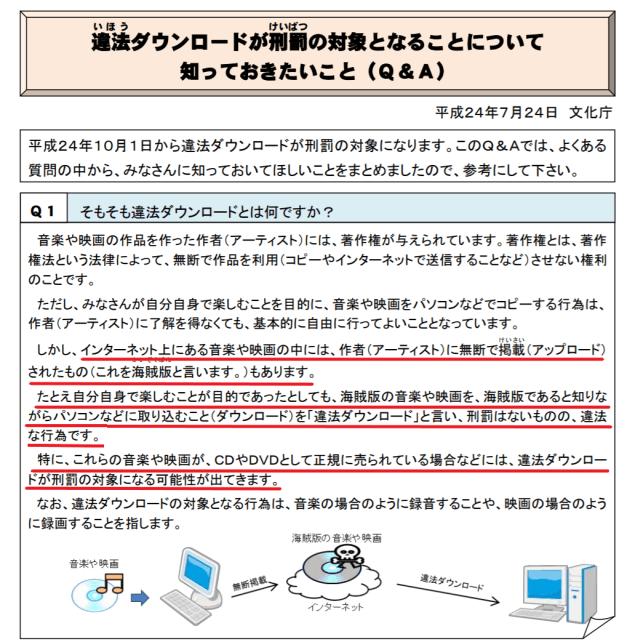 文化庁の公式サイトの違法ダウンロードの解説
