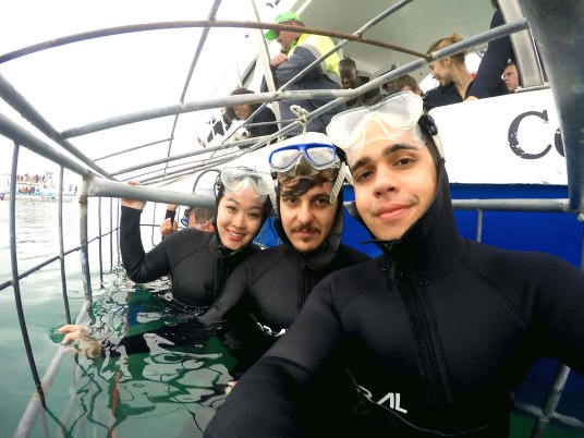Bia, Ike e Rodrigo dentro da gaiola para ver os tubarões branco.