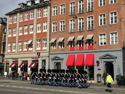 Royal Guards marching in town