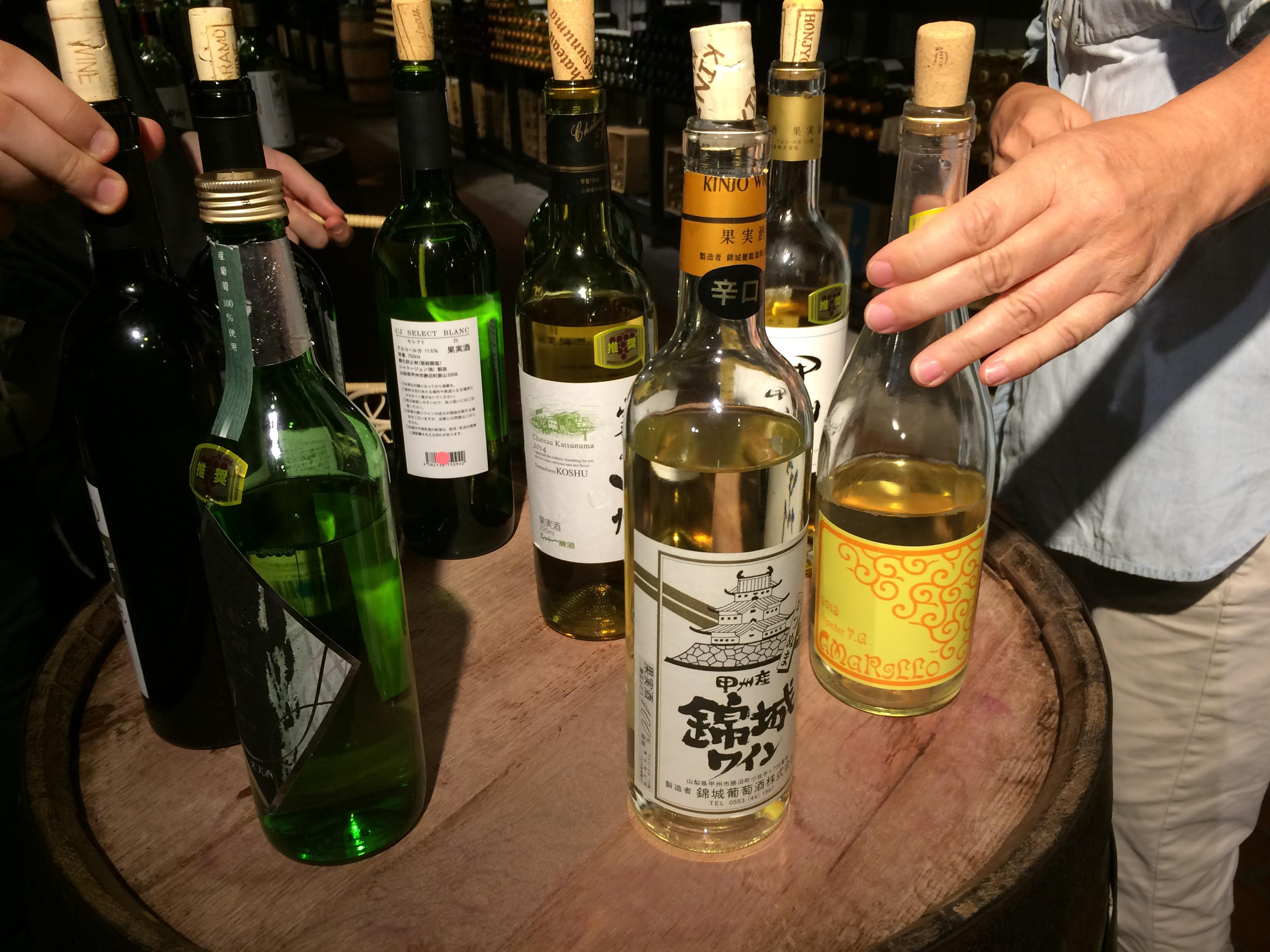 Bottles of white wine from Yamanashi