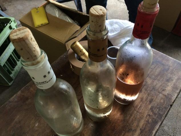 Bottles of Mujirushi Label wine