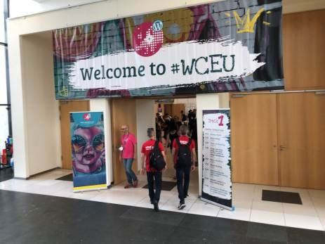 Welcome to #WCEU sign