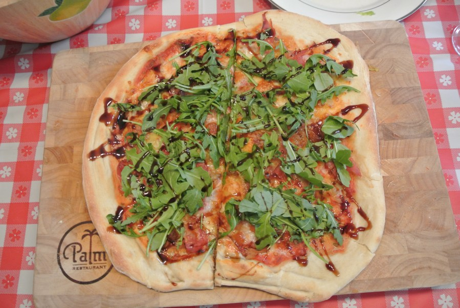 B's Pizza 1 - Prosciutto and arugula pizza.