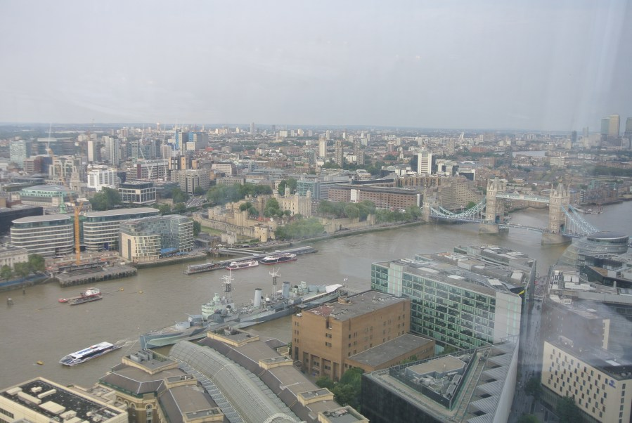 The Eastern view of the Thames from atop the Shard.