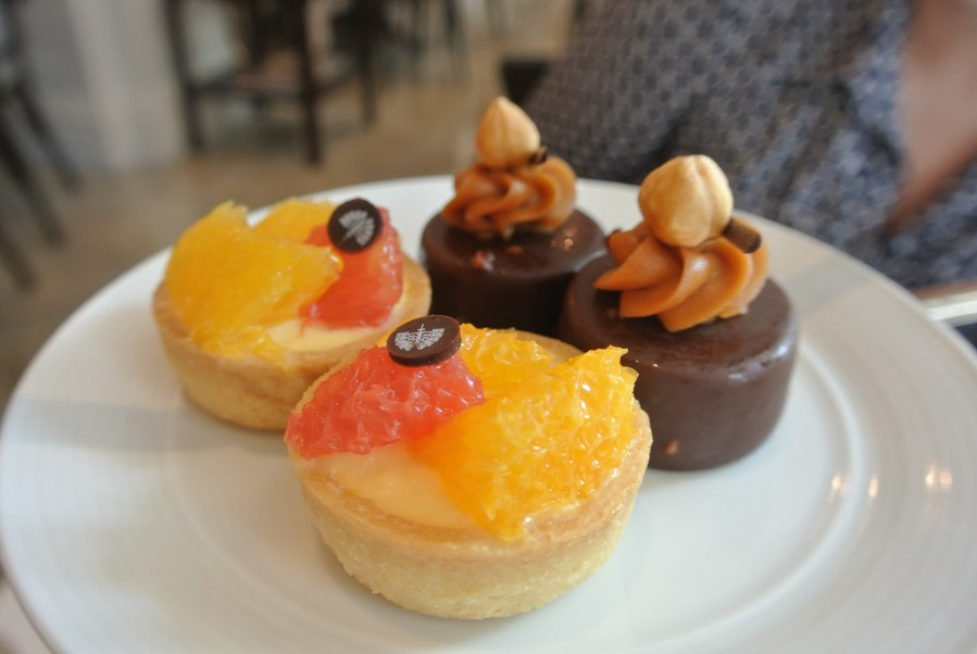 The second tray of desserts: citrus tartlets and chocolate praline cakes.