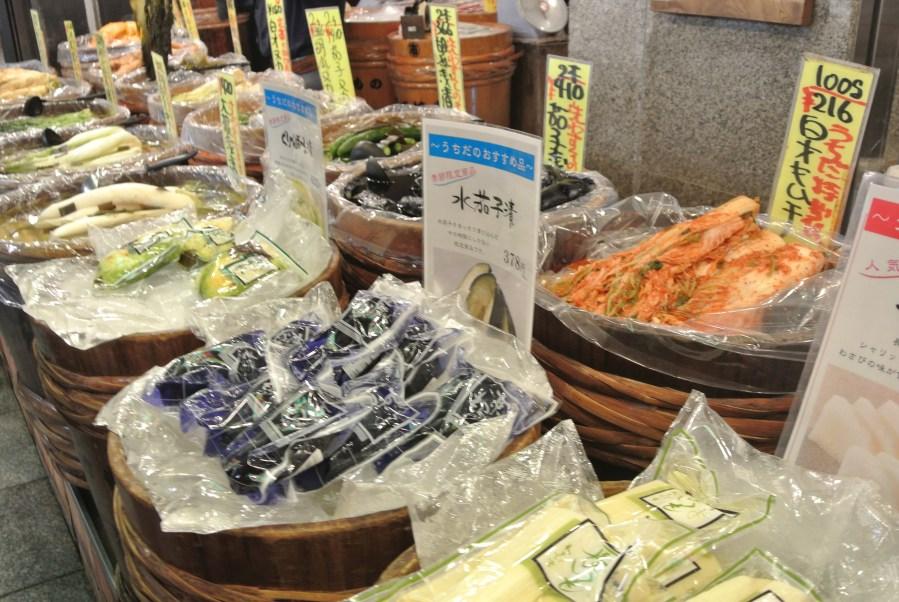 Traditional tsukemono or pickles - everything from kimichi to eggplant to daikon.