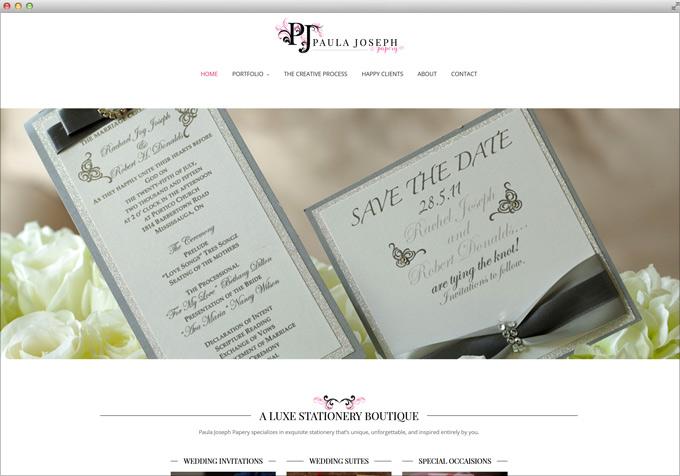 Website for Wedding Invitations by Paula Joseph Papery