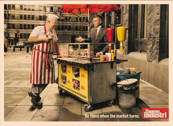 Dagens Industri Print Advert By McCann Hot dog stand