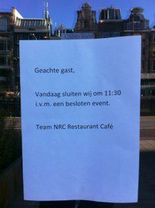 NRC Café gesloten in verband met stemming (Foto: Tirza van der Graaf)