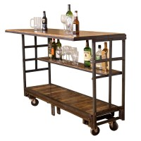 Vintage Cart Rolling Bar with Shelf | Napa East