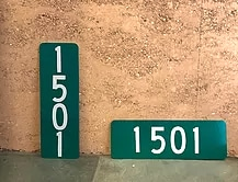 Vertical and Horizontal green reflective address signs