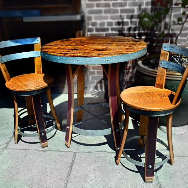 Wine Barrel Bistro Table With Two Chairs - Napa General Store