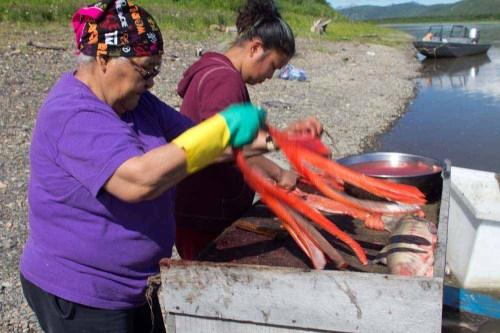 Nas Avakumof cutting salmon at her fish camp across from Napaimute