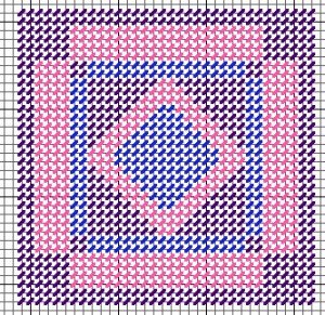 Amish Diamond in Square quilt plastic canvas needlepoint ornament free pattern