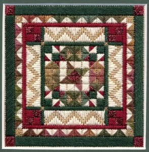 Holly & Ivy needlepoint mini-quilt by Laura J Perin