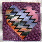 needlepoint heart with zig-zag twinchy
